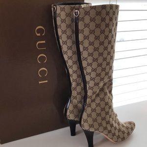 Beige Gucci signature canvas boots